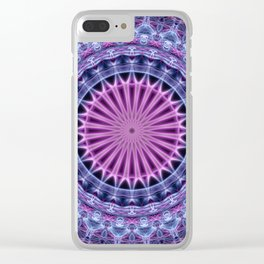 Pretty mandala in blue and violet tones Clear iPhone Case