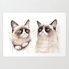 Grumpy Watercolor Cats Art Print