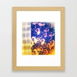Floral splashes and checkered pattern Framed Art Print