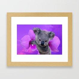 Koala and Orchid Framed Art Print