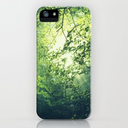 unreal green - hazy summer forest iPhone Case
