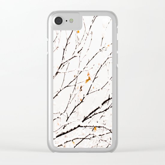 Snowy birch twigs and leaves Clear iPhone Case