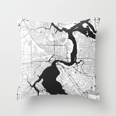 Jacksonville Map Gray Throw Pillow