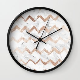 Chic faux rose gold chevron white marble pattern Wall Clock