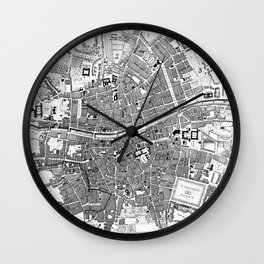 Vintage Map of Dublin Ireland (1797) BW Wall Clock