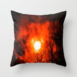 Burning Moon Throw Pillow