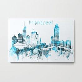 Montreal Canada Monochrome Blue Skyline Metal Print