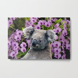 Koala and Orchids Metal Print