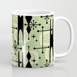 Retro Atomic Mid Century Pattern 771 Sage Coffee Mug