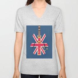 Union Jack Flag Guitar - Navy Unisex V-Neck