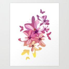 Flower Butterflies Art Print