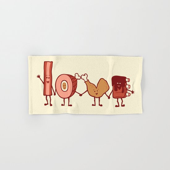 Meat Love U Hand & Bath Towel