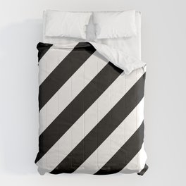 Diagonal Stripes Black & White Comforters