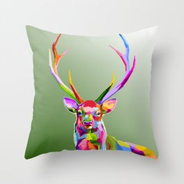 Colorful Deer (Illustration) Throw Pillow