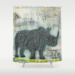 Majestic Series: Rhino on a roll Shower Curtain