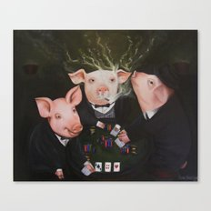 Pigs Playing Poker Canvas Print