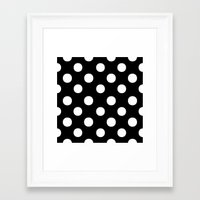 polka dots Framed Art Prints featuring Polka Dots (White/Black) by 10813 Apparel