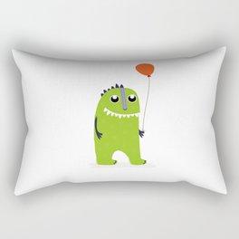 Happy green monster Rectangular Pillow