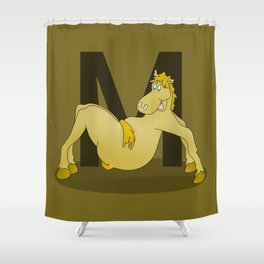 Pony Monogram Letter m Shower Curtain