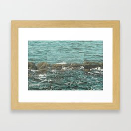 Waves on the Rocks Framed Art Print