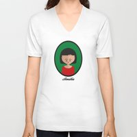 amelie V-neck T-shirts featuring Amelie by Juliana Motzko
