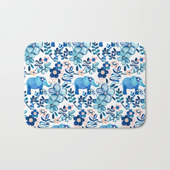 Blush Pink, White and Blue Elephant and Floral Watercolor Pattern Bath Mat