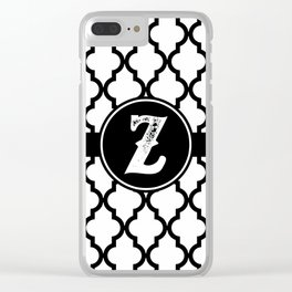 Black Monogram: Letter Z Clear iPhone Case