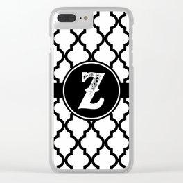 Black Monogram: Letter Z Clear iPhone Case