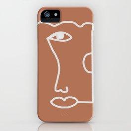 Woman Face, Burnt Orange, Minimal Line Drawing iPhone Case