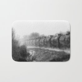 Winter Locomotion Black and White Bath Mat