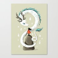 spirit Canvas Prints featuring Dragon Spirit by Freeminds