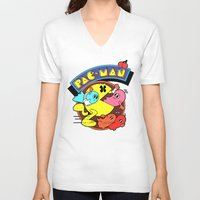 pac man V-neck T-shirts featuring Pac-Man by idaspark