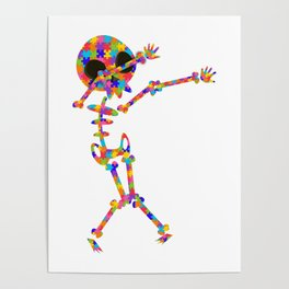 Dabbing Skeleton For Autism Poster