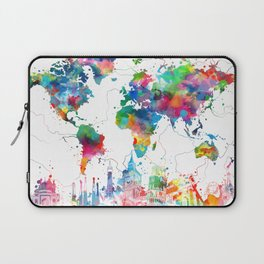 world map watercolor collage Laptop Sleeve