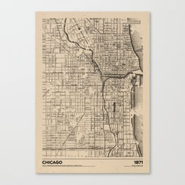 Chicago 1871 - Old Vintage USA Map Canvas Print