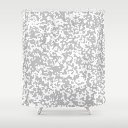 Small Spots - White and Silver Gray Shower Curtain