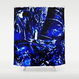 Liquid Cobalt Metal Shower Curtain