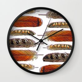 Raptor Feathers Wall Clock