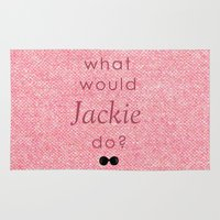 jfk Area & Throw Rugs featuring What Would Jackie Do? by Laura