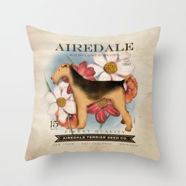 Airedale Terrier Seed Company artwork by Stephen Fowler Throw Pillow