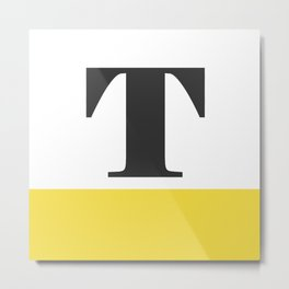 Monogram Letter T-Pantone-Buttercup Metal Print