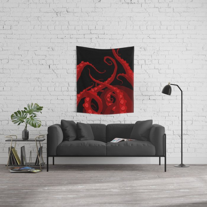 Subterranean - Red Tentacle Wall Tapestry