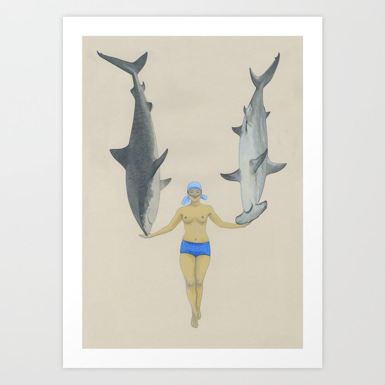The Shark Charmer Art Print