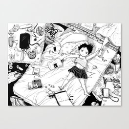 Monochrome Surrealistic Illustration:Hold Your Ankle in My Messy Bedroom Canvas Print