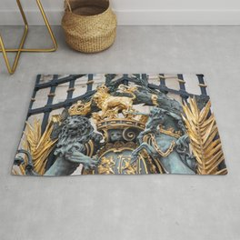 Detail of the Royal Coat of Arms on Buckingham Palace Gates London England Rug