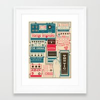 tame impala Framed Art Prints featuring Tame Impala Pedals by Pancho Veit
