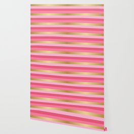 Pink and Gold Stripes Wallpaper