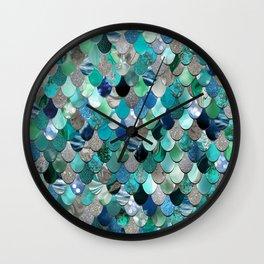 Mermaid Sea, Teal, Aqua, Silver, Grey Wall Clock