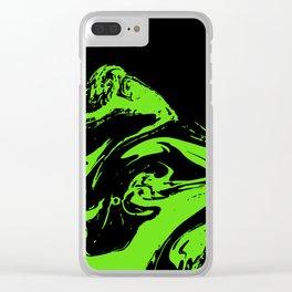Green & Black liquid ink Clear iPhone Case