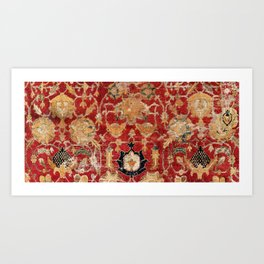 Indo Esfahan Central Persian Rug Fragment Print Art Print